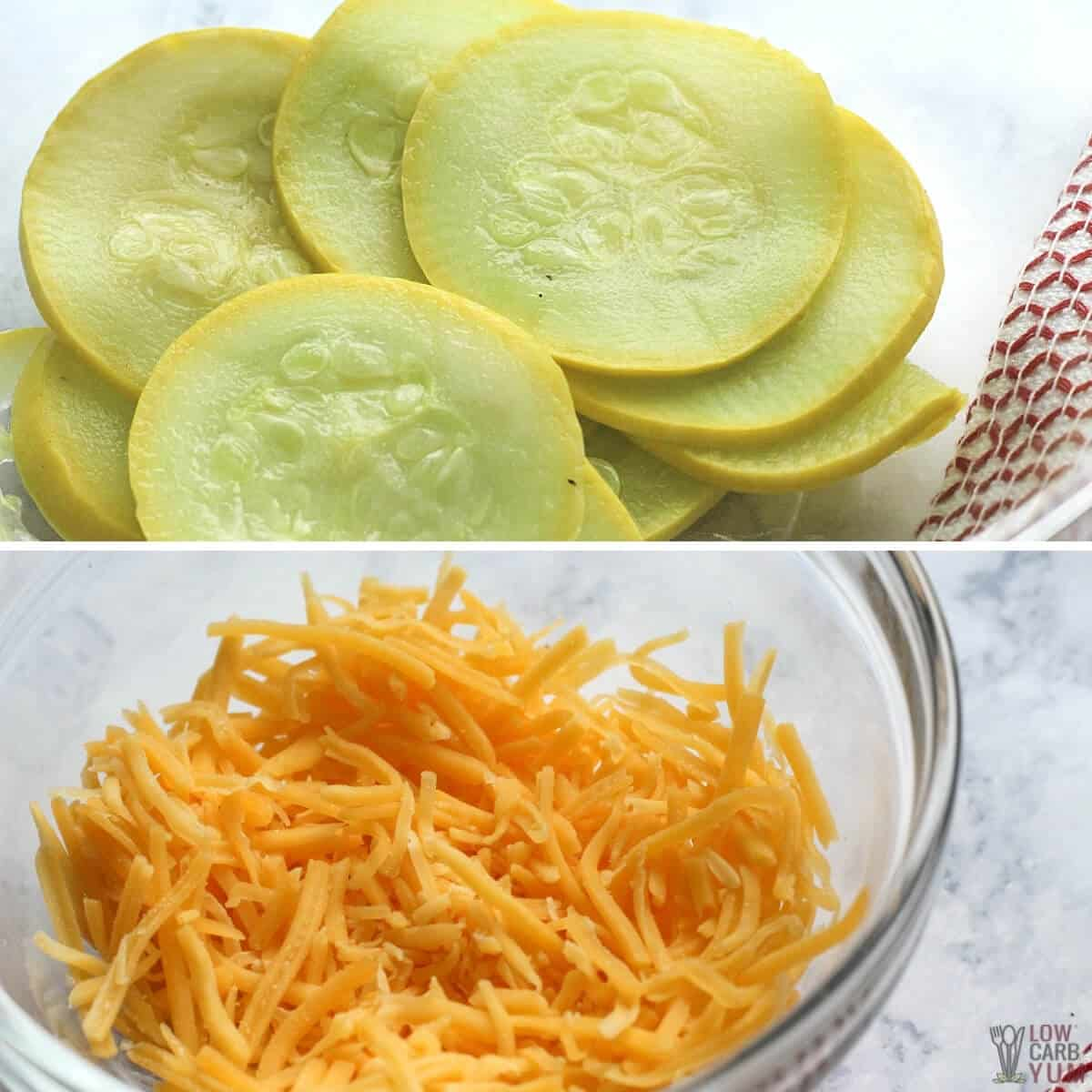 sliced yellow squash and grated cheese