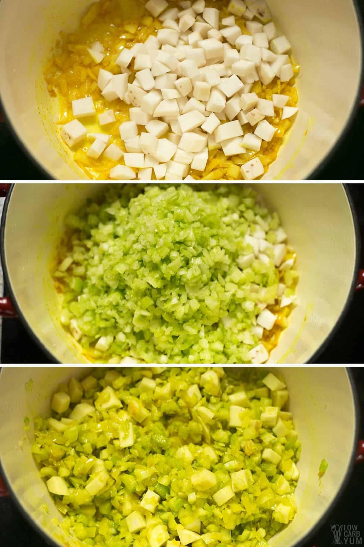 adding chopped turnip and celery