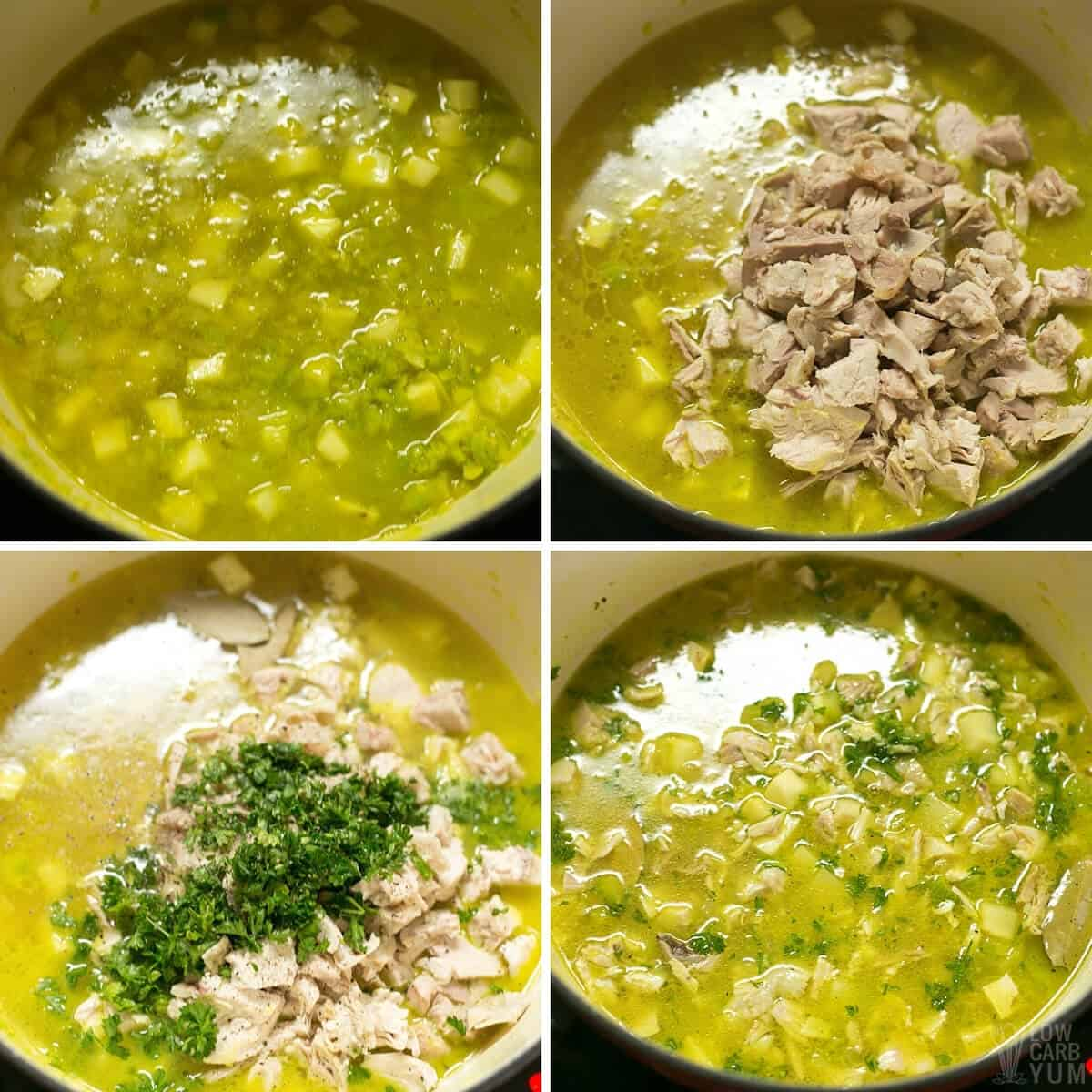 adding broth chicken seasonings