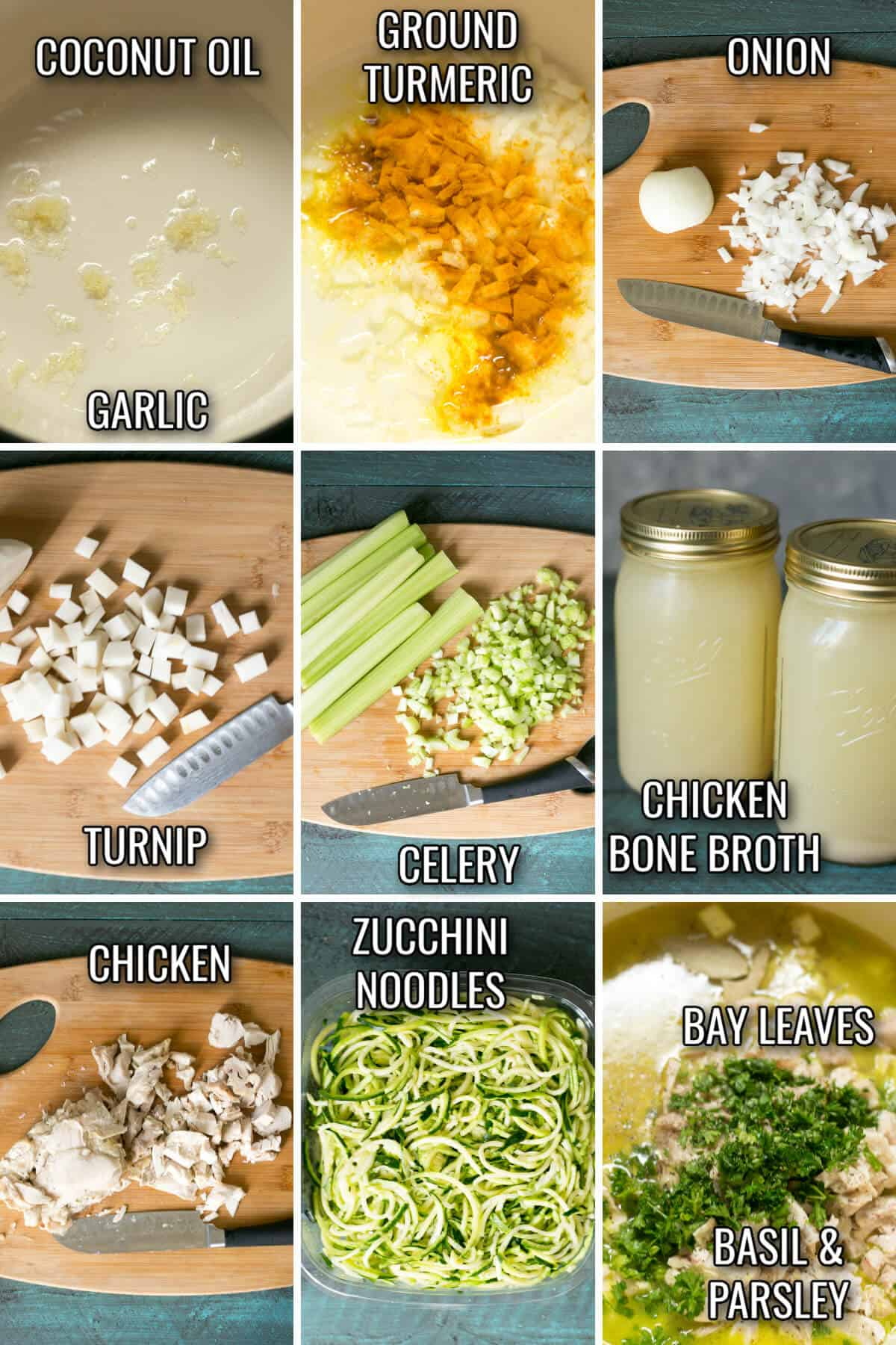 ingredients for low carb keto chicken noodle soup