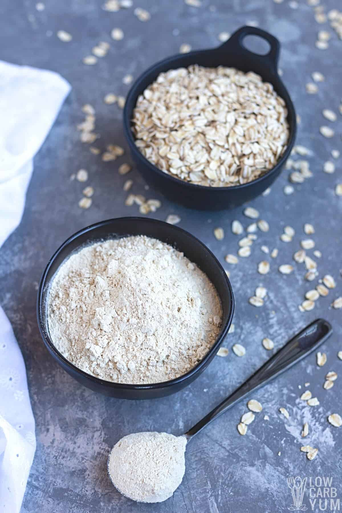 oat fiber in bowl and spoon with oats