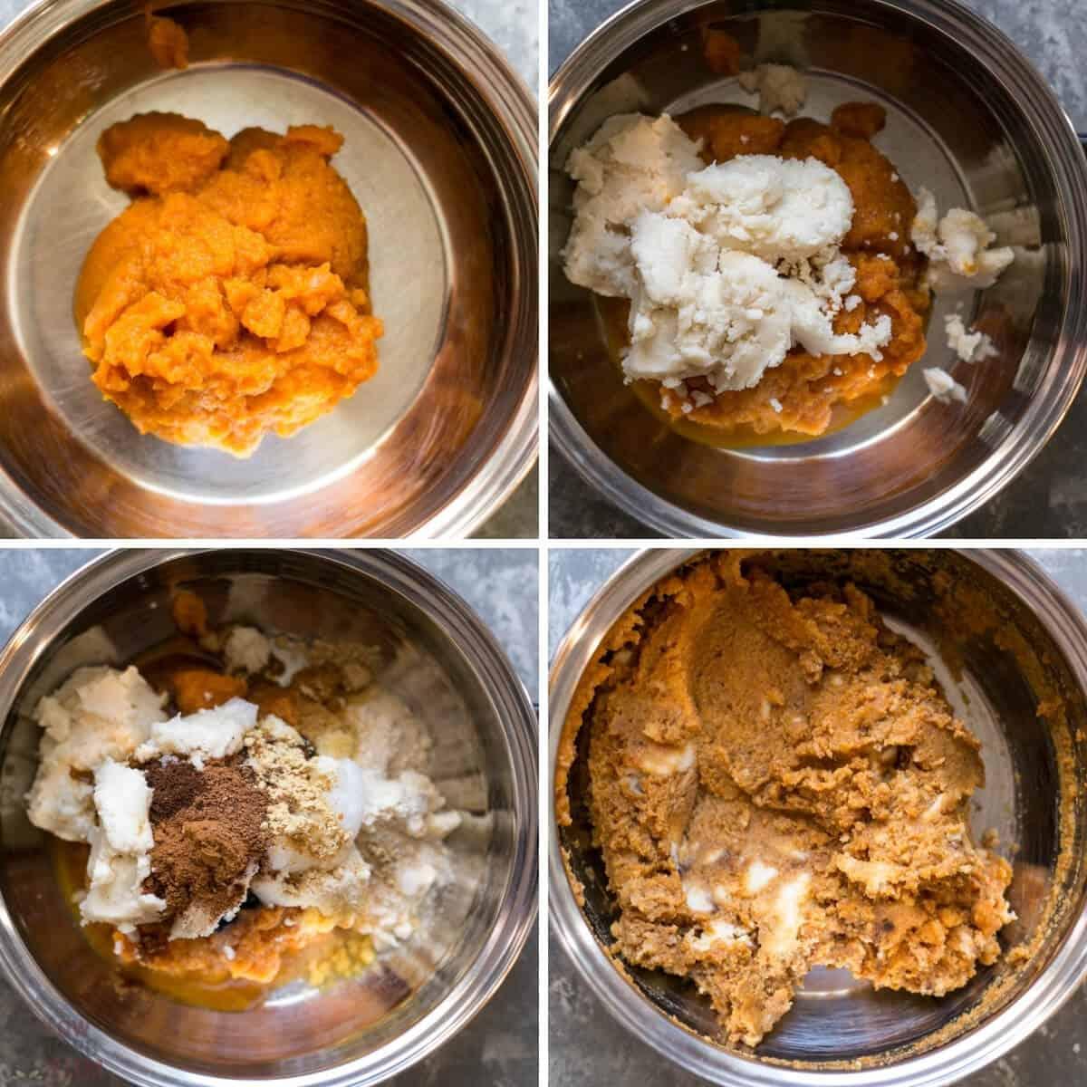 pumpkin fudge ingredients added to pan